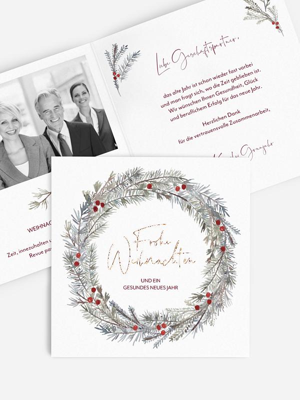 Geschäftliche Weihnachtskarte Winterkranz