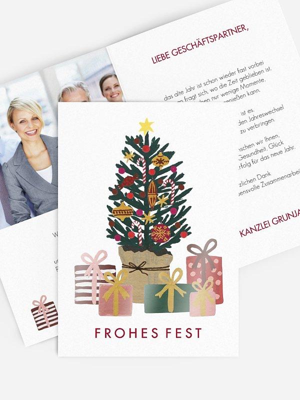 Geschäftliche Weihnachtskarte Christmas Gift Tree