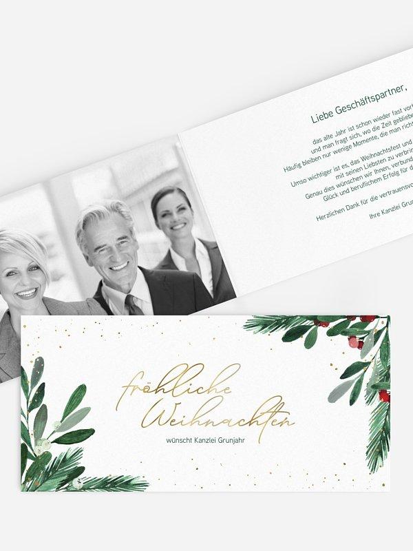 Geschäftliche Weihnachtskarte Winterzweige