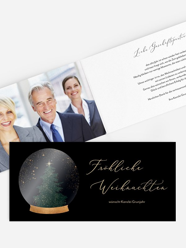 Geschäftliche Weihnachtskarte Christmas Tree Globe