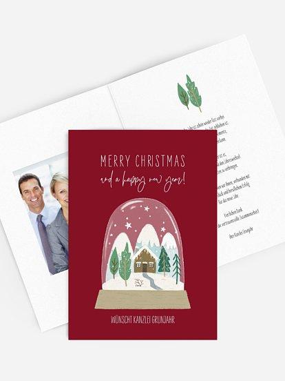 """Geschäftliche Weihnachtskarte """"Snow Globe"""""""