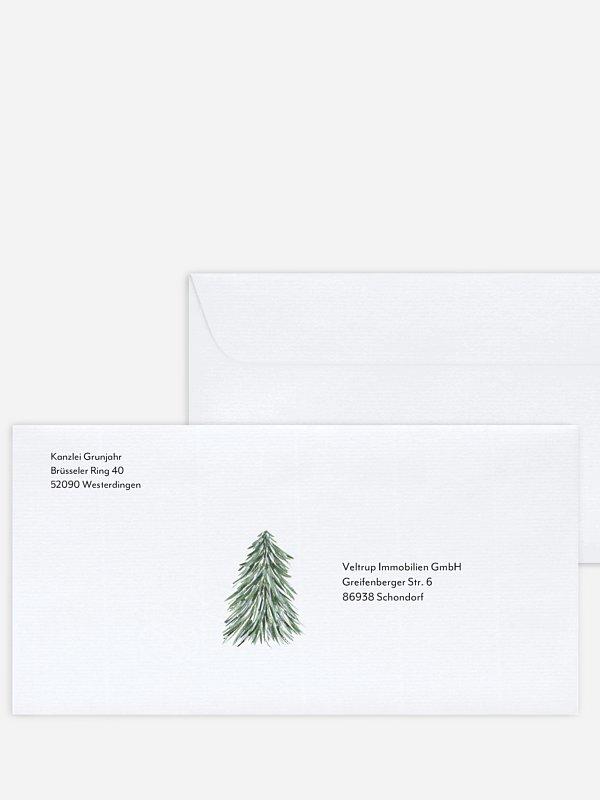 Bedruckte Umschläge geschäftl. Weihnachten Weihnachtswald