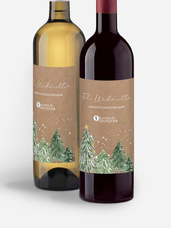 Flaschenetikett geschäftlich Weihnachtswald