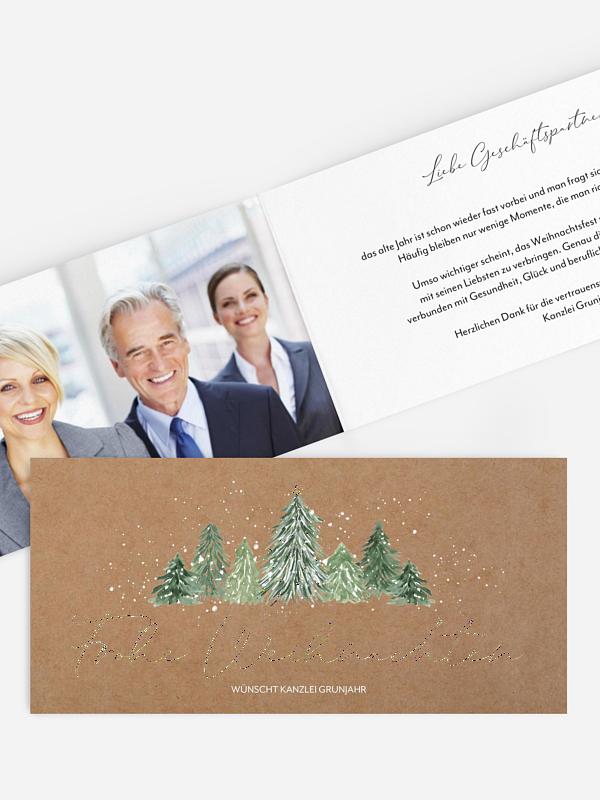 Geschäftliche Weihnachtskarte Weihnachtswald