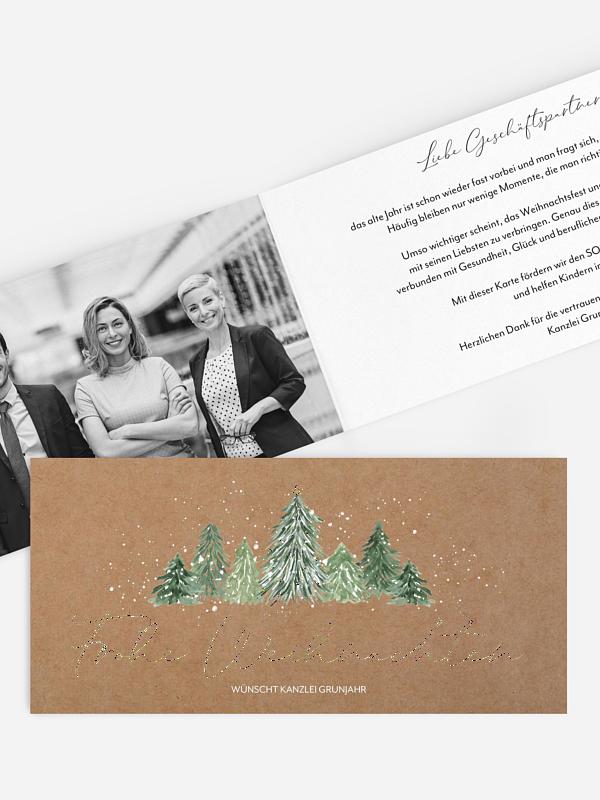 Spendenkarten Geschäftlich Weihnachtswald