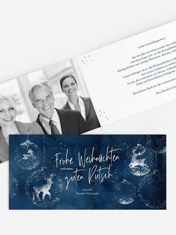 Geschäftliche Weihnachtskarte Reindeer Sparkle