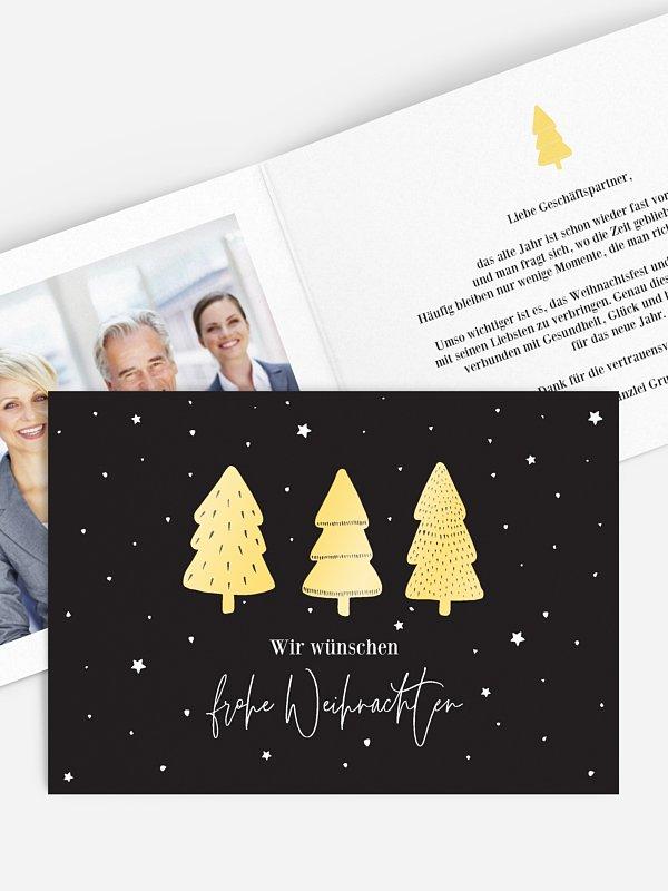 Geschäftliche Weihnachtskarte Tannen Trio