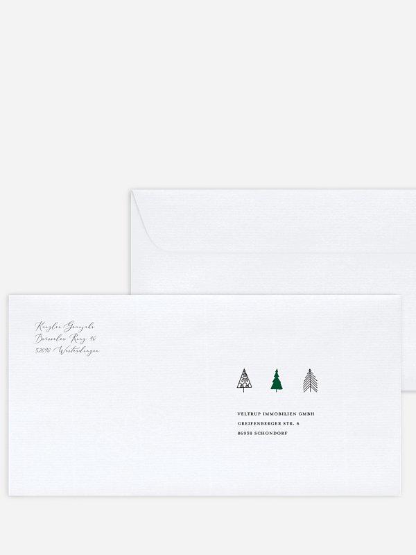 Bedruckte Umschläge geschäftl. Weihnachten Modern Trees