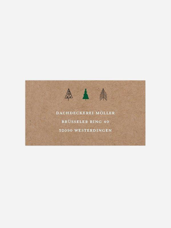 Empfängeraufkleber geschäftl. Weihnachten Modern Trees
