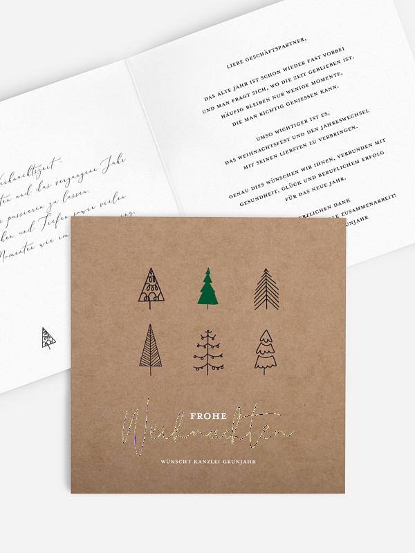 Geschäftliche Weihnachtskarte Modern Trees