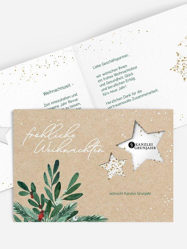 Geschäftliche Weihnachtskarte Winterzweige (gestanzt)