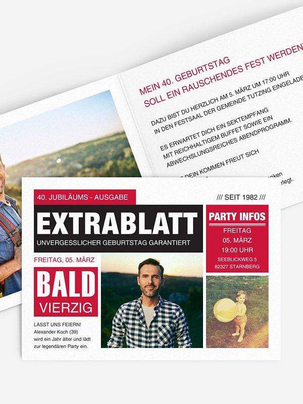 Einladung 40. Geburtstag Extrablatt