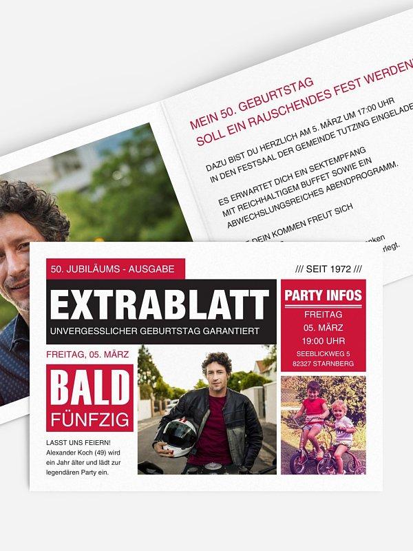 Einladung 50. Geburtstag Extrablatt