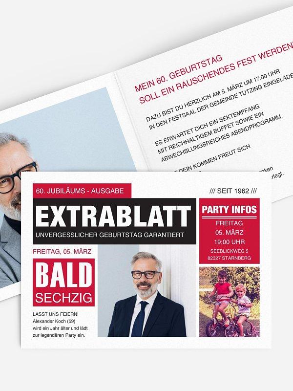 Einladung 60. Geburtstag Extrablatt