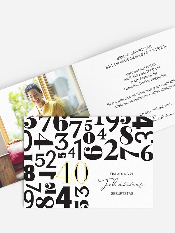 Einladung 40. Geburtstag Zahlentanz