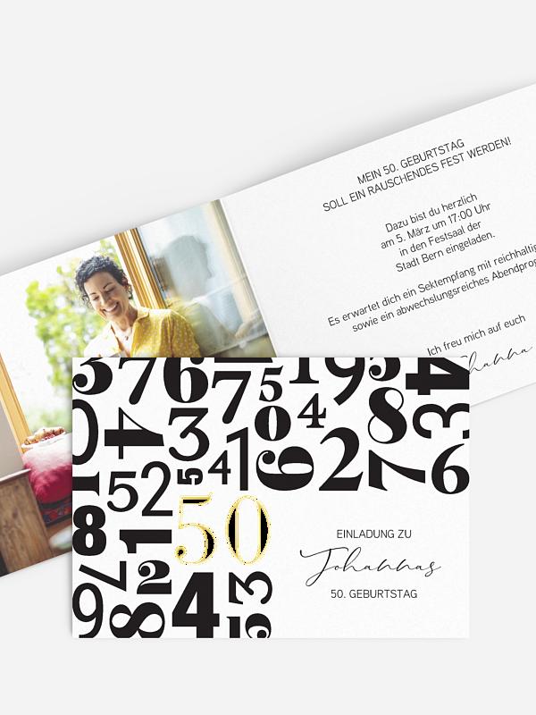 Einladung 50. Geburtstag Zahlentanz