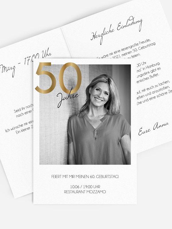 Einladung 50. Geburtstag Goldene Jahre