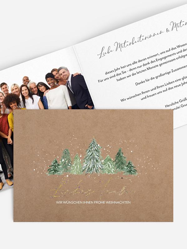 Geschäftliche Weihnachtskarte Weihnachtswald Mitarbeiter