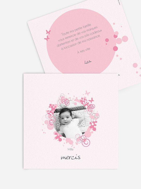 Carte remerciement naissance Bubble