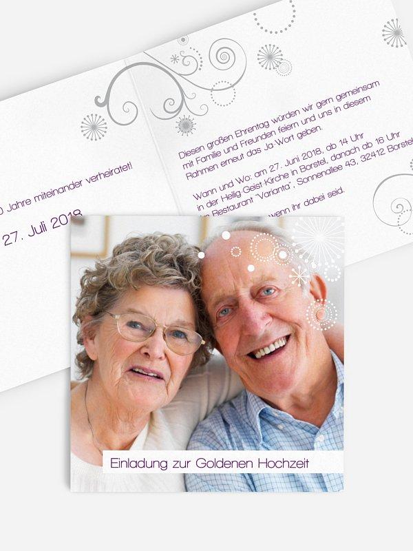 Einladung zur Goldenen Hochzeit Sternblume