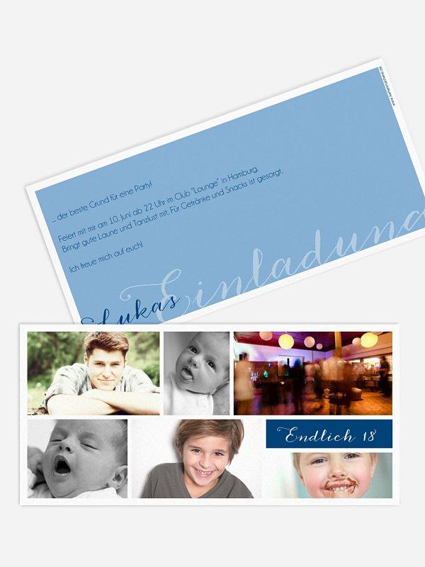 Einladung 18. Geburtstag Fotowand
