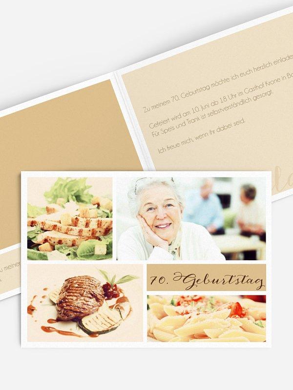 Einladung 70. Geburtstag Fotowand