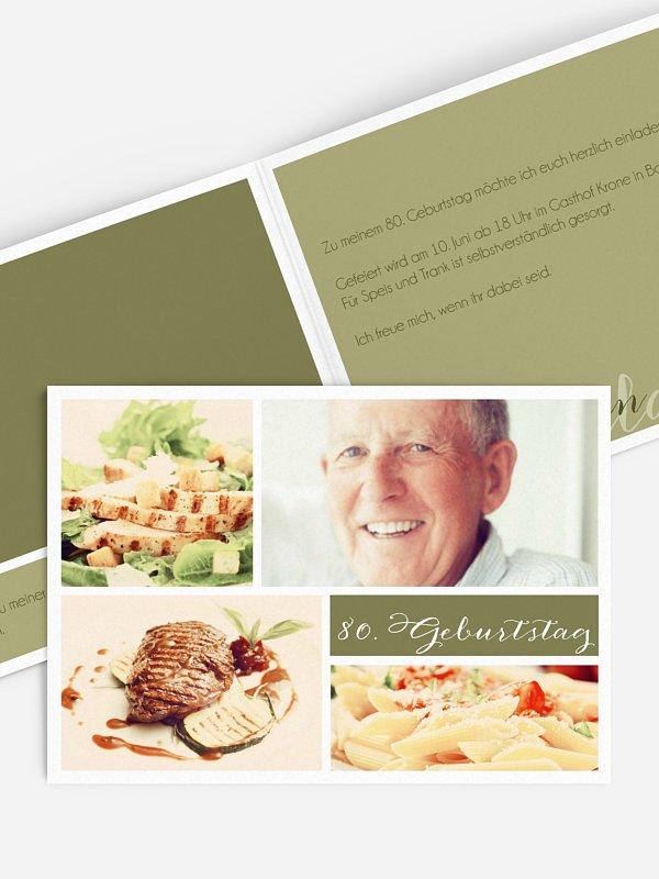 Einladung 80. Geburtstag Fotowand