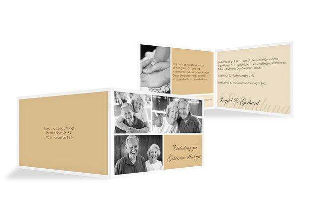 einladungskarten f r die goldene hochzeit edel individuell. Black Bedroom Furniture Sets. Home Design Ideas