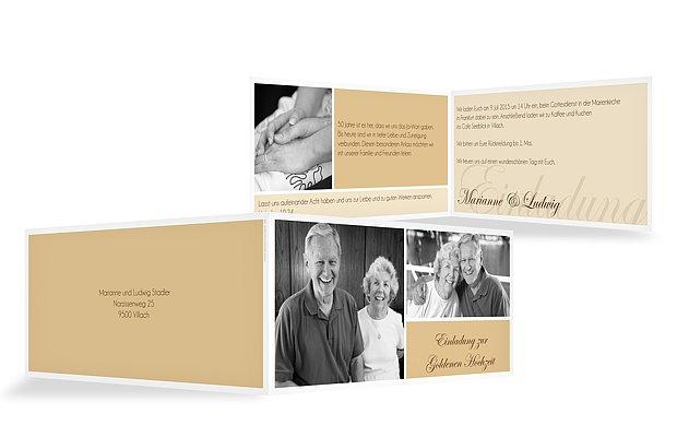 einladungskarten für die goldene hochzeit – edel & individuell, Einladungsentwurf