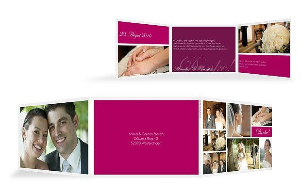 dankeskarte hochzeit fotowand rustic love - Hochzeitshomepage Beispiele
