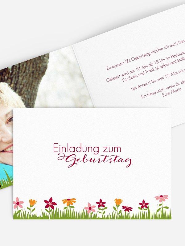Einladung 50. Geburtstag Blumenwiese