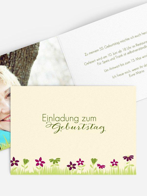 Geburtstagseinladung Blumenwiese