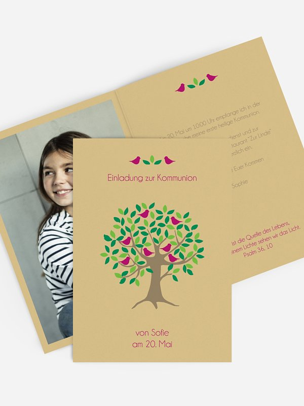 Kommunionseinladung Baum