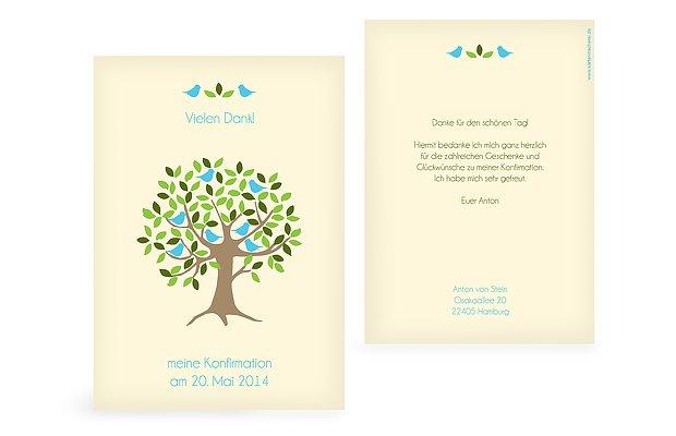 "Dankeskarte Konfirmation ""Baum"""