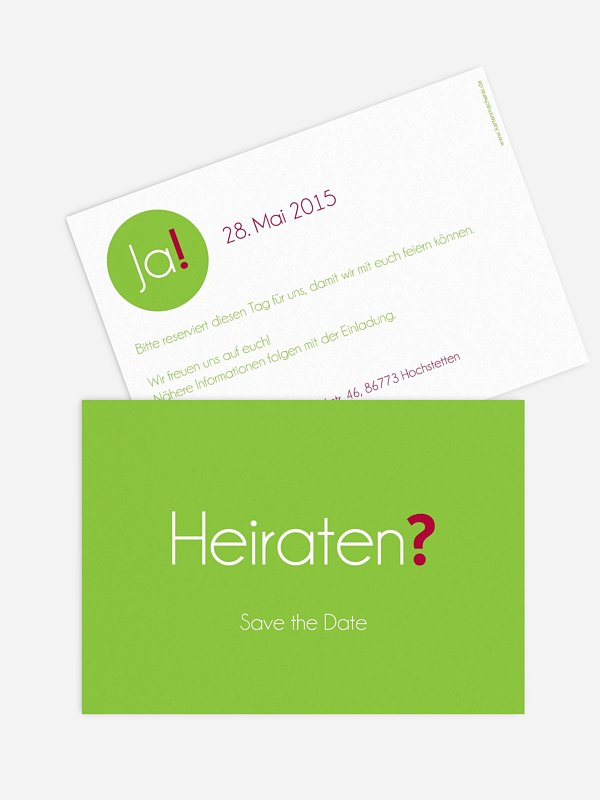 Save-the-Date Karte Heiraten? Ja!