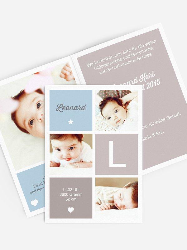 Geburtskarte Vierecke