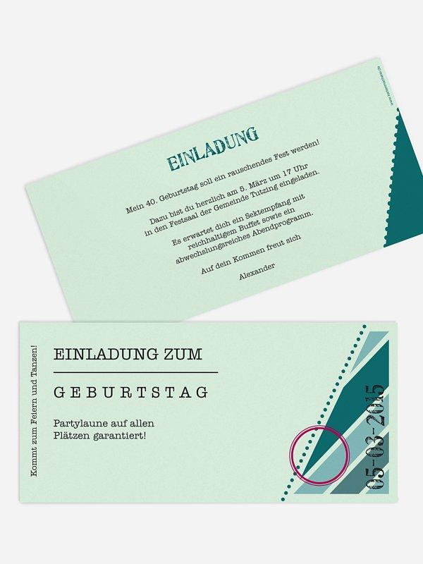 Einladung 40. Geburtstag Eintrittskarte