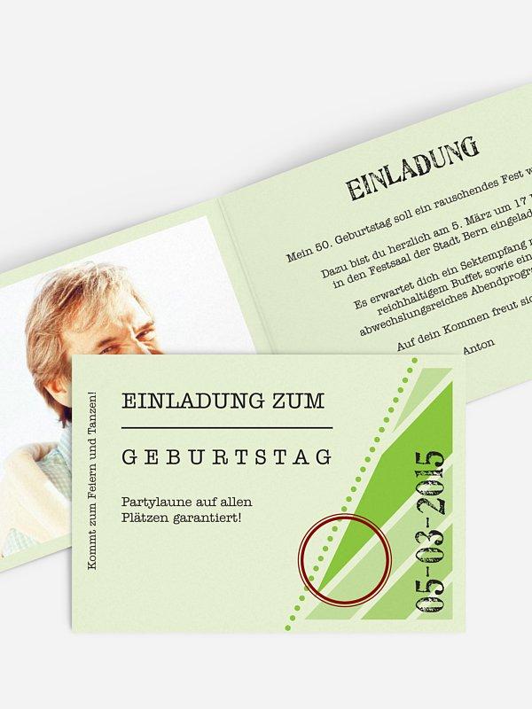 Einladung 50. Geburtstag Eintrittskarte