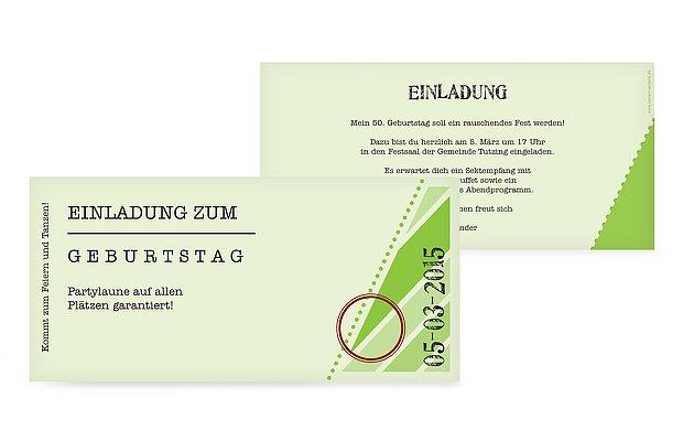 """Einladung 50. Geburtstag """"Eintrittskarte"""""""