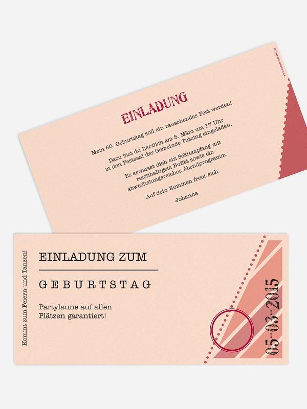Einladung 60. Geburtstag Eintrittskarte