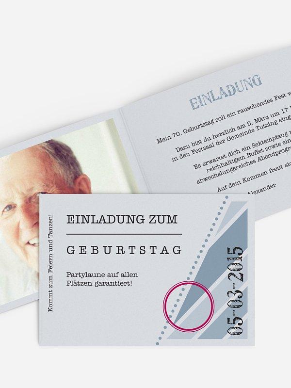 Einladung 70. Geburtstag Eintrittskarte