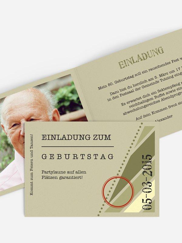 Einladung 80. Geburtstag Eintrittskarte