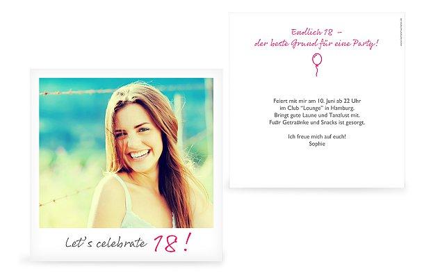 """Einladungskarten 18 Geburtstag Einladungskarten 18: Einladungskarten 18. Geburtstag """"Polaroid"""""""