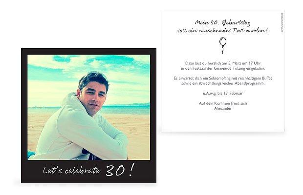Einladung 30. Geburtstag Polaroid