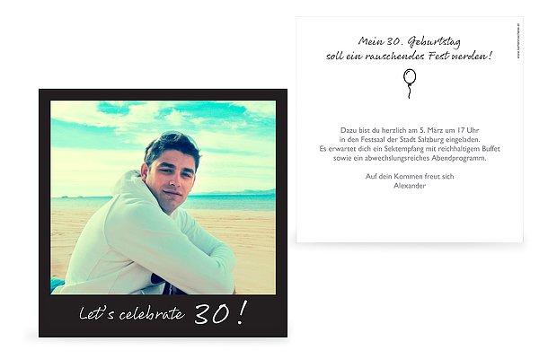 Einladungskarten 30 geburtstag polaroid - Polaroid karten ...