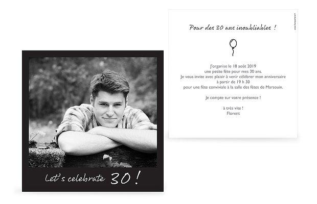 invitation anniversaire 30 Polaroid
