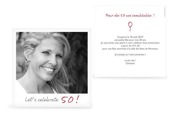 invitation anniversaire 50 Polaroid
