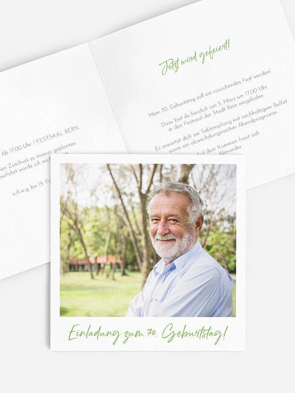 Einladung 70. Geburtstag Analogbild