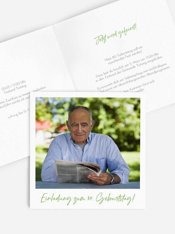Einladung 80. Geburtstag Analogbild