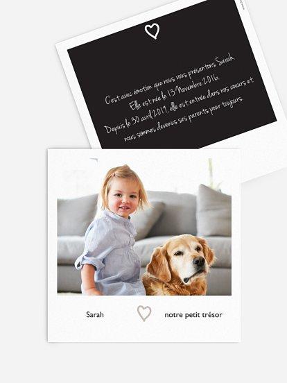 Faire-part adoption Polaroid